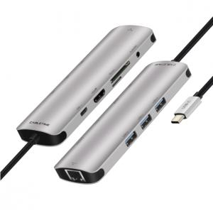מתאם USB-C למגוון חיבורים HDMI - USB3.0 - SD Card - LAN תומך MACBOOK