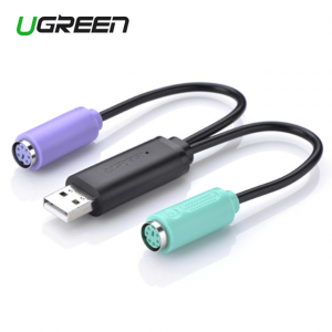 מתאם איכותי בחיבור USB לשני חיבורים PS2 למקלדת ועכבר