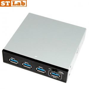 """פאנל STLAB E-120 הכולל שקע הטענה מהירה """"USB3.0 5.25"""" + 3.5"""