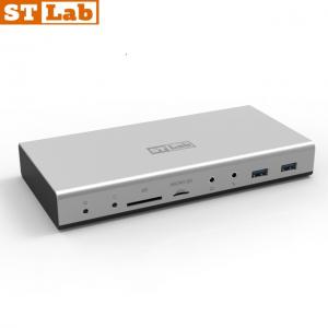 תחנת עגינה אוניברסלית STLAB U-910 בחיבור USB3.0 הכולל חיבור לשני מסכים