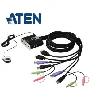 ממתג HDMI KVM  ל-2 מחשבים תומך USB ו- CS692 ATEN HDMI