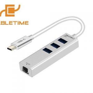 מתאם בחיבור USB-C הכולל 3 כניסות USB3.0 וחיבור רשת LAN RJ45