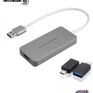 לוכד וידאו USB3.0 לחיבור HDMI נקבה כולל מתאם לחיבור USB-C באיכות HD
